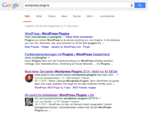 Sitelinks bei WordPress Plugins