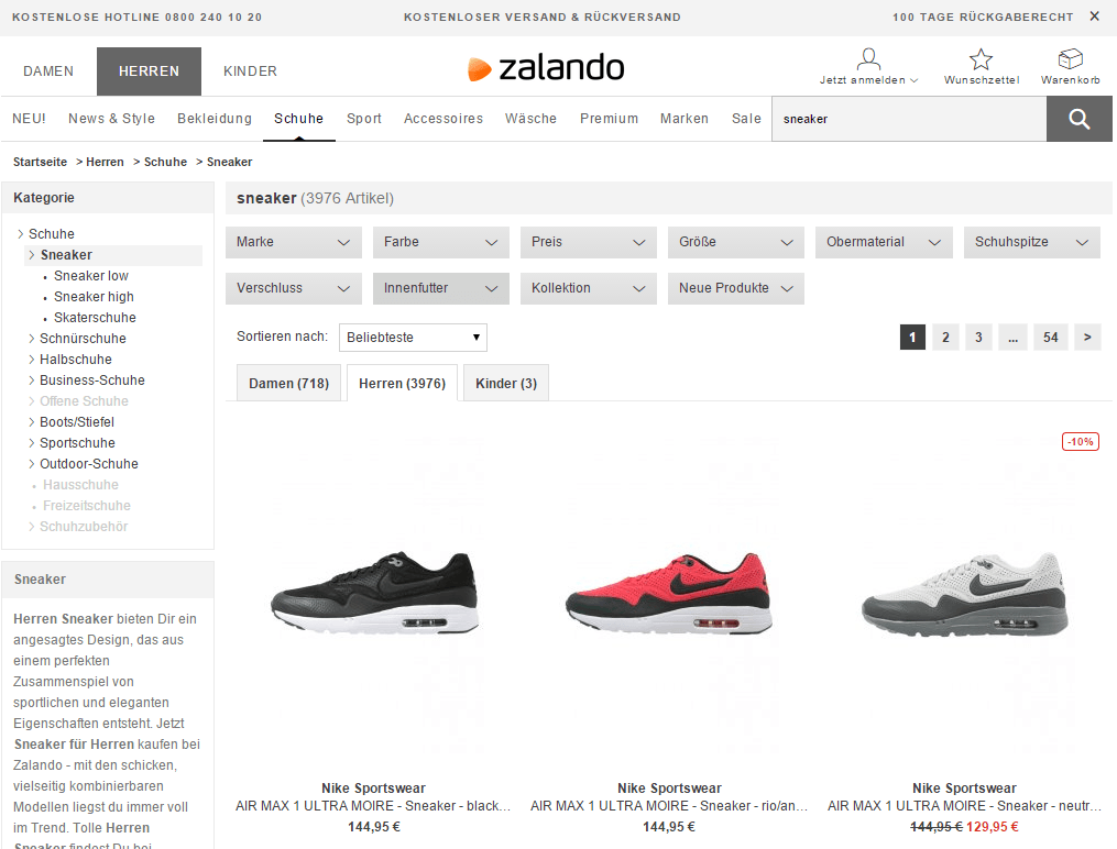 zalando faceted search