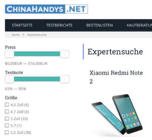 Smartphone Expertensuche mit WP Facet