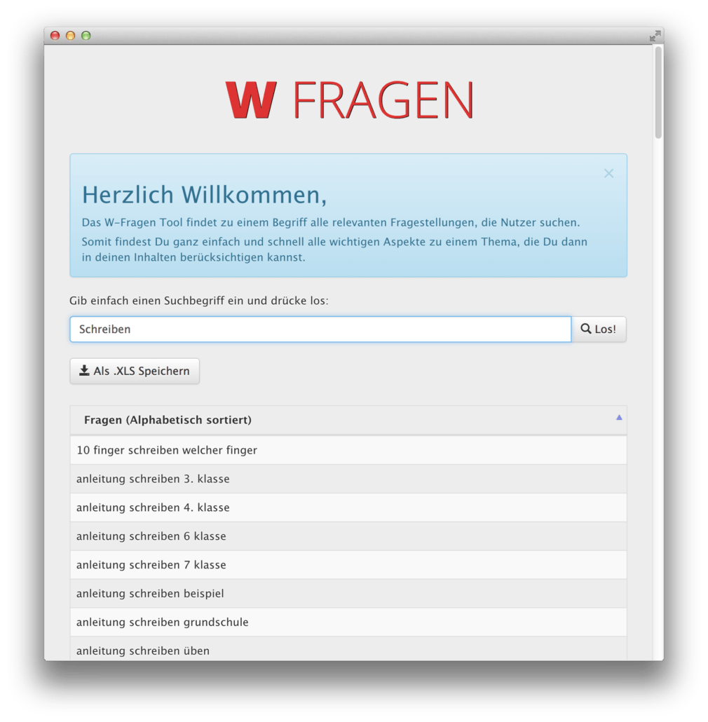W Fragen Tool SEARCH ONE